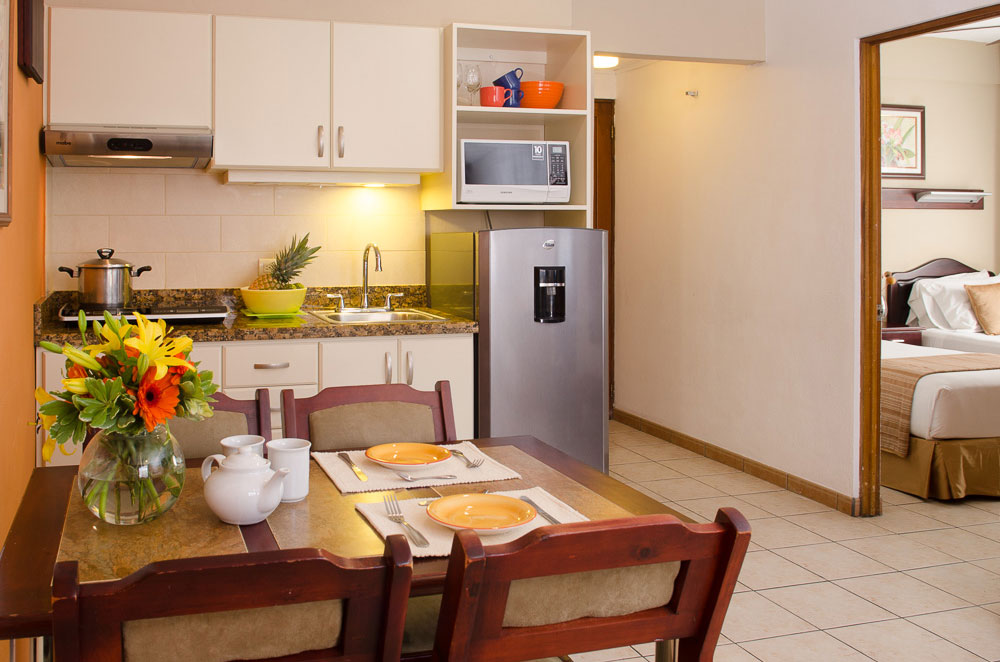 Apartments have a shared area for living room and kitchen.