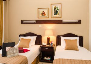 Apartment D has a double single bed room as well as a queen bed room.