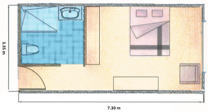 Wheel chair accessible studio apartment floor plan.