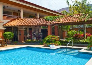 Pool area at Hotel y apartaments La Sabana